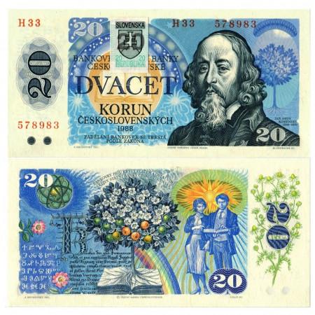 "1988 (1993) * Banconota Slovacchia 20 Korun ""Ján Amos Koménsky"" (p15) FDS"