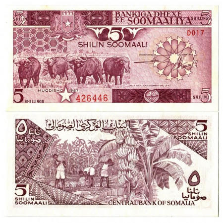 "1987 * Banconota Somalia 5 Shilin =5 Shillings ""Water Buffalos"" (p31c) FDS"