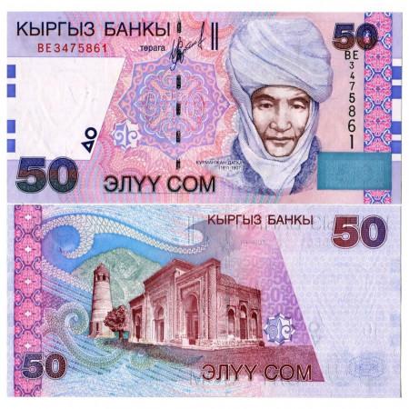 """2002 * Banconota Kirghizistan 50 Som """"Czarina Kurmanzhan Datka"""" (p20) FDS"""