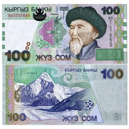"2002 * Banconota Kirghizistan 100 Som ""Toktogul Satylganov"" (p21) FDS"