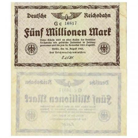 """1923 * Banconota Germania Ferroviario 5 Milioni - 5.000.000 Mark """"Deutsche Reichsbahn Berlin"""" (pS1013) qSPL"""