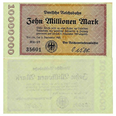 "1923 * Banconota Germania Ferroviario 10 Milioni - 10.000.000 Mark ""Deutsche Reichsbahn Berlin"" (pS1014) SPL"