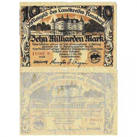 """1923 * Notgeld Germania 10 Miliardi - 10.000.000.000 """"Schleswig-Holstein - Flensburg """" BB"""
