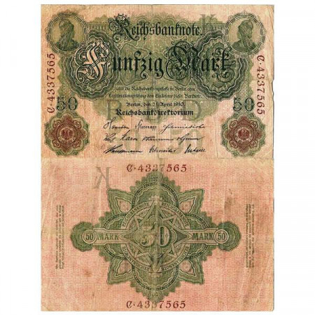 "1910 * Banconota Germania Impero 50 Mark ""Secondo Reich"" (p41) MB"