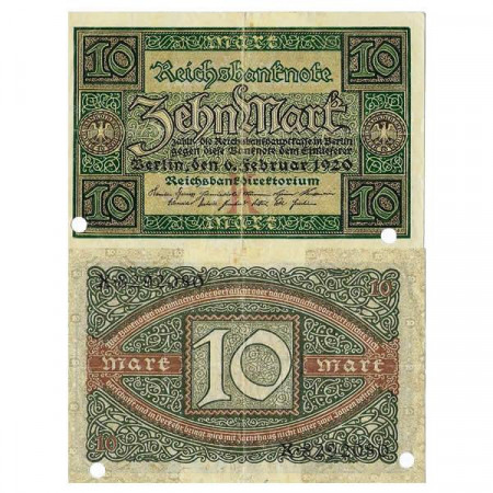 "1920 * Banconota Germania Weimar 10 Mark ""Reichsbanknote"" (p67) qBB"