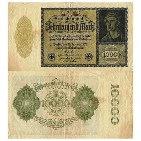 "1922 * Banconota Germania Weimar 10.000 Mark ""Reichsbanknote"" (p72) MB"