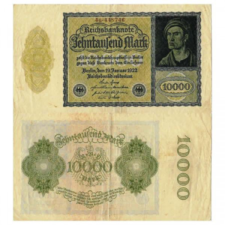 """1922 * Banconota Germania Weimar 10.000 Mark """"Reichsbanknote"""" (p72) BB"""