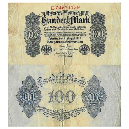 "1922 * Banconota Germania Weimar 100 Mark ""Reichsbanknote"" (p75) MB+"