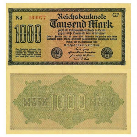 "1922 * Banconota Germania Weimar 1000 Mark ""Reichsbanknote"" (p76b) SPL+"