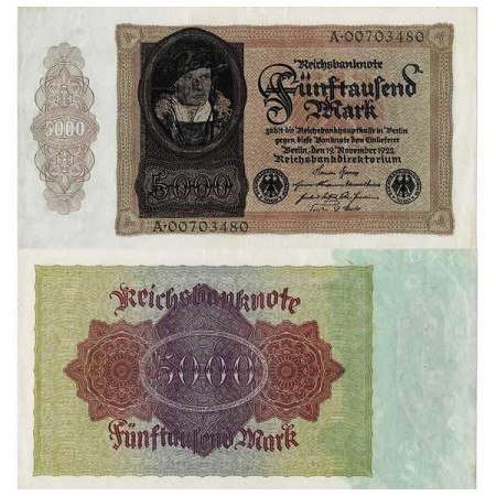 "1922 * Banconota Germania Weimar 5000 Mark ""Reichsbanknote"" (p78) SPL"