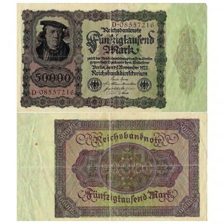 """1922 * Banconota Germania Weimar 50.000 Mark """"Reichsbanknote"""" (p80) qBB"""