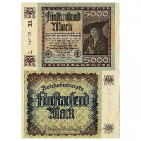 "1922 * Banconota Germania Weimar 5000 Mark ""Reichsbanknote"" (p81c) BB"