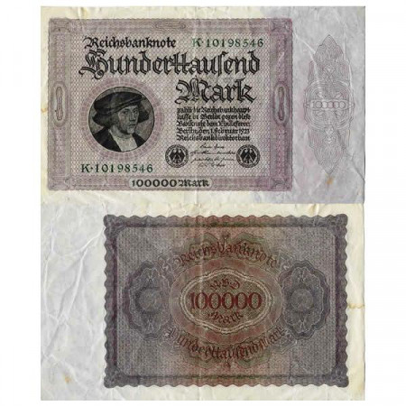 "1923 * Banconota Germania Weimar 100.000 Mark ""Reichsbanknote"" (p83a) MB"