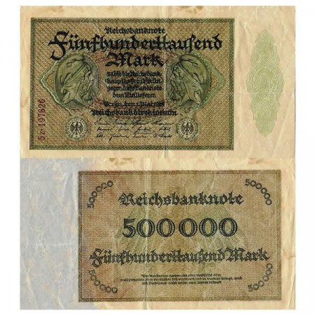 "1923 * Banconota Germania Weimar 500.000 Mark ""Reichsbanknote"" (p88b) qBB"