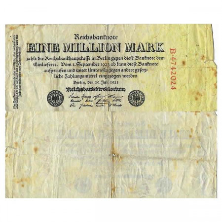 "1923 * Banconota Germania Weimar 1 Milione - 1.000.000 Mark ""Reichsbanknote"" (p94) MB"
