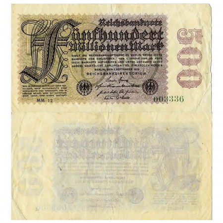 "1923 * Banconota Germania Weimar 500 Milioni - 500.000.000 Mark ""Reichsbanknote"" (p110d) BB"