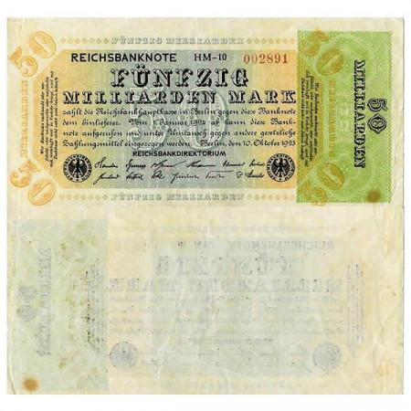 "1923 * Banconota Germania Weimar 50 Miliardi - 50.000.000.000 Mark ""Reichsbanknote"" (p120a) BB+"