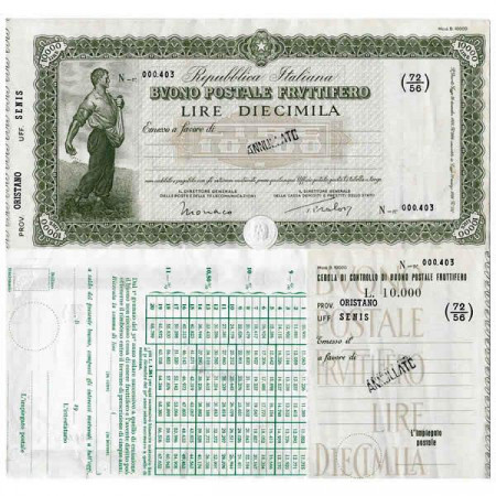 "1926 * Buono Postale Fruttifero Italia 10.000 Lire ""Oristano - Senis - Annullato"" SPL"