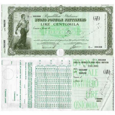 """1926 * Buono Postale Fruttifero Italia 100.000 Lire """"Cagliari - Sanluri - Annullato"""" SPL"""