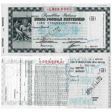 """1926 * Buono Postale Fruttifero Italia 500.000 Lire """"Oristano - Marrubiu - Annullato"""" SPL"""