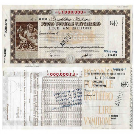 """1926 * Buono Postale Fruttifero Italia 1 Milione - 1.000.000 Lire """"Cagliari - Domusnovas - Annullato"""" SPL"""