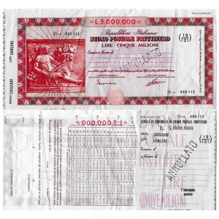 """1926 * Buono Postale Fruttifero Italia 5 Milioni - 5.000.000 Lire """"Cagliari - Sanluri - Annullato"""" SPL"""