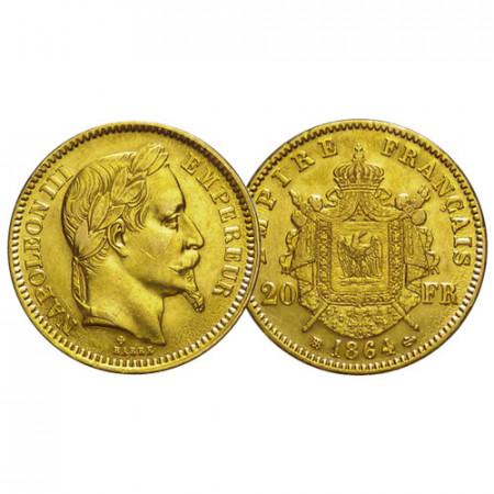 "1864 BB * 20 Francs Oro Francia ""Napoleone III – Laureata"" (KM 801.2) SPL"