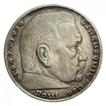 """1935 F * 5 Reichsmark Argento GERMANIA """"Terzo Reich - Hindenburg"""" (KM 86) SPL"""