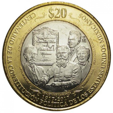"""2017 * 20 Pesos Bimetallico Messico """"Centenary of the Constitution"""" UNC"""