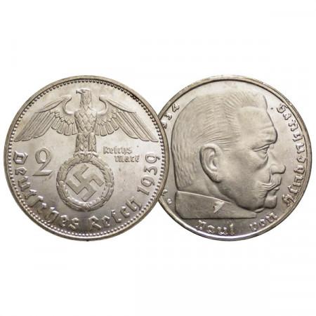 """1939 G * 2 Reichsmark Argento GERMANIA """"Terzo Reich - Hindenburg"""" (KM 93) SPL"""