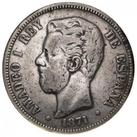 """1871 SDM * 5 Pesetas Argento Spagna """"Amadeo I"""" (KM 666) MB/BB"""