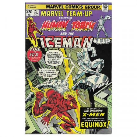 """Fumetto Marvel #23 07/1974 """"Marvel Team-Up ft Spiderman - Iceman"""""""