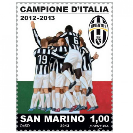 2013 * francobollo San Marino in euro Juventus Campione d'Italia