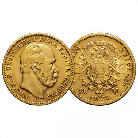 """1873 C * 20 Mark Oro Stati Tedeschi """"Prussia - Guglielmo I"""" (KM 501) BB+"""
