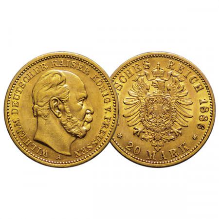 """1886 A * 20 Mark Oro Stati Tedeschi """"Prussia - Guglielmo I"""" (KM 505) BB+"""
