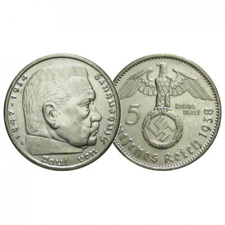 """1938 A * 5 Reichsmark Argento GERMANIA """"Terzo Reich - Hindenburg"""" (KM 94) SPL"""