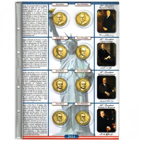 ABAFIL * Foglio + tasche per monete da 1 dollaro 2014