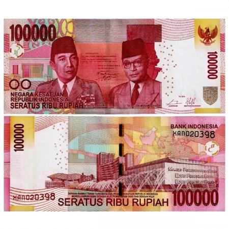 """2014 * Banconota Indonesia 100.000 Rupiah """"Sukarno - Hatta"""" (p153f) FDS"""
