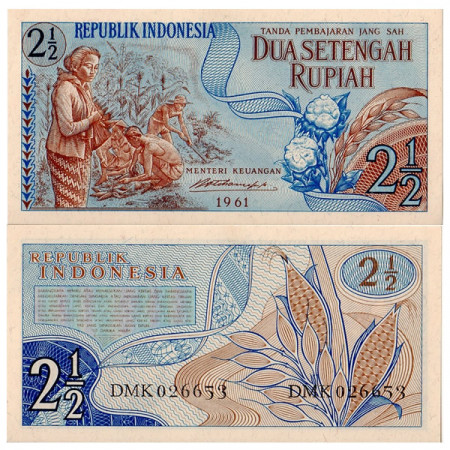1961 * Banconota Indonesia 2,5 Rupie (p79) FDS