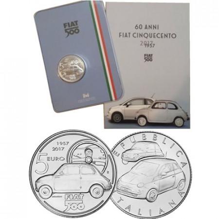 """2017 * 5 Euro ITALIA """"60° Anniversario FIAT 500"""" FDC"""