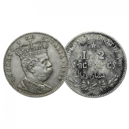 """1896 R * 2 Lire - 4/10 di Tallero Argento Italia Regno """"Umberto I - Colonia Eritrea"""" (G 4 - KM 3) BB/SPL"""