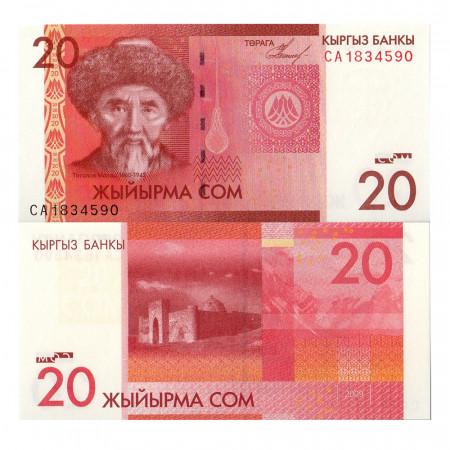 "2009 * Banconota Kirghizistan 20 Som ""Togolok Moldo"" (p24) FDS"