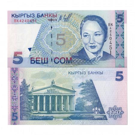 "1997 * Banconota Kirghizistan 5 Som ""B Beishenaliyeva"" (p13) FDS"