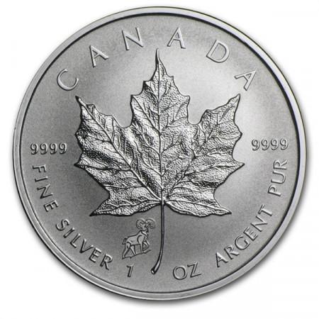 """2015 * 5 Dollari d'argento 1 OZ Foglia d'acero Canada """"Anno della Capra"""" Privy Mark"""