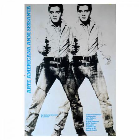 """1987 * Manifesto Pubblicitario Originale """"Arte Americana Anni Sessanta (Elvis Presley) - Andy Warhol, Marcello Francone"""" Non Telato"""