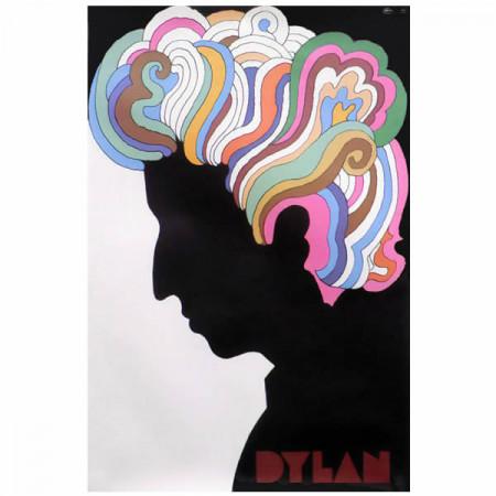 """1967 * Manifesto Pubblicitario Originale """"Bob Dylan - Milton Glaser"""" Non Telato"""
