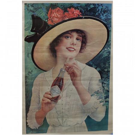 """1970 (1921) * Poster Pubblicitario Originale """"Donna Beve Coca-Cola"""" Non Telato"""