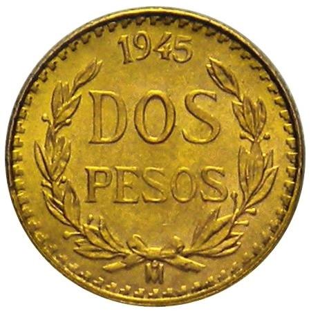 1945 * 2 pesos Messico in oro