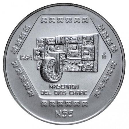 1994 * Messico 5 nuovi pesos OZ Oncia d'argento Mascaron