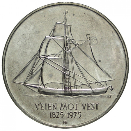 """1975 * 5 Kroner Norvegia """"150° Anniversario - Immigrazione in America"""" (KM 422) UNC"""